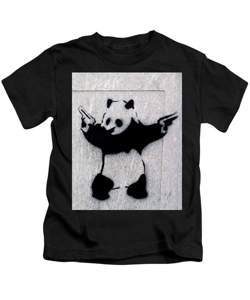Kids T-Shirt featuring the photograph Banksy Panda by Gigi Ebert