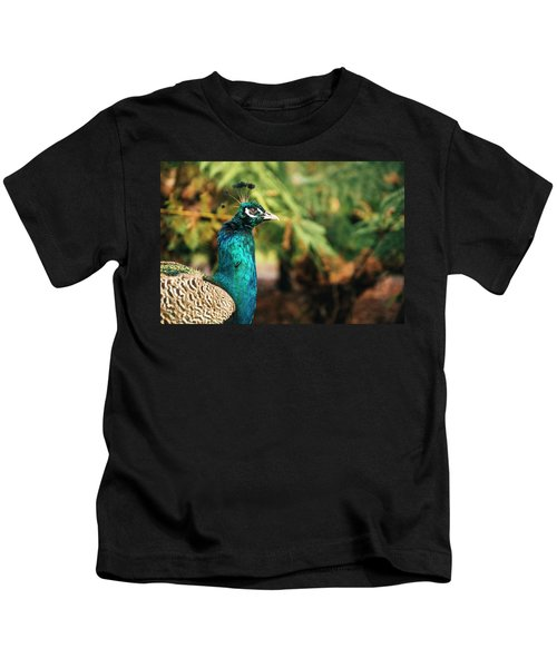 Beautiful Colourful Peacock Outdoors In The Daytime. Kids T-Shirt