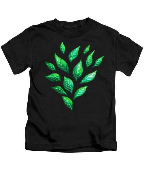 Beautiful Green Leaves Dark Pattern Kids T-Shirt