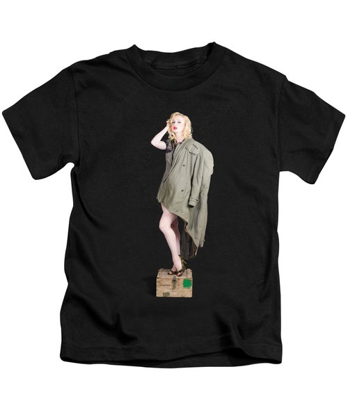 Beautiful Military Pinup Girl. Classic Beauty Kids T-Shirt