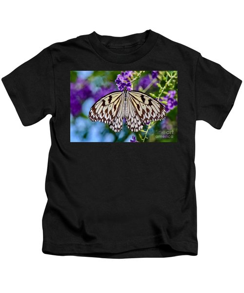 Black And White Paper Kite Butterfly Kids T-Shirt