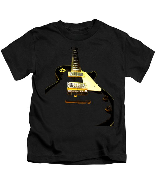 Black Guitar With Gold Accents Kids T-Shirt