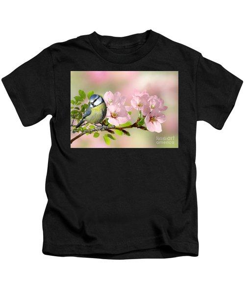 Blue Tit On Apple Blossom Kids T-Shirt