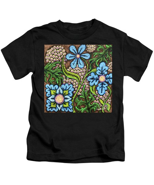 Brown And Blue Floral 2 Kids T-Shirt