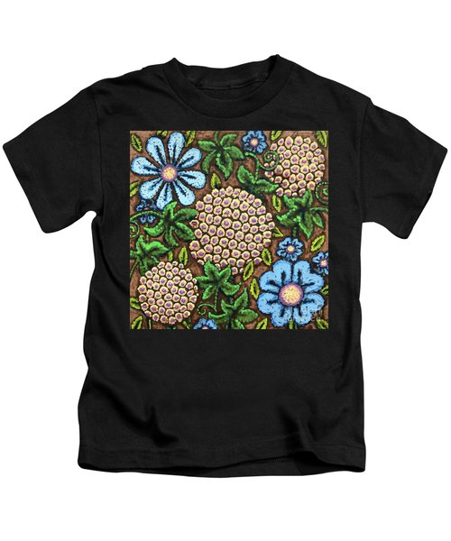 Brown And Blue Floral 3 Kids T-Shirt