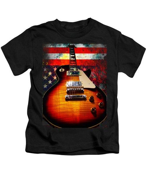 Burst Guitar American Flag Background Kids T-Shirt