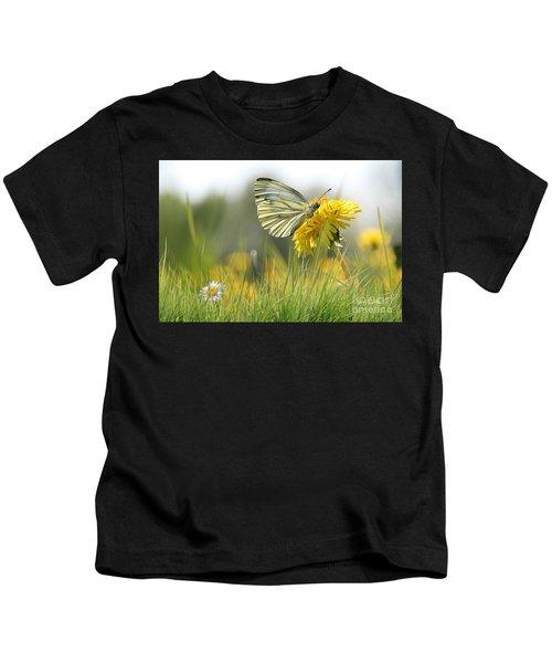 Butterfly On Dandelion Kids T-Shirt