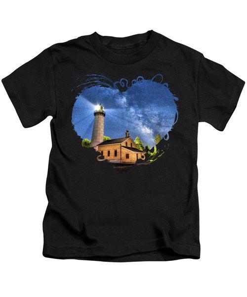Cana Island Lighthouse Milky Way In Door County Wisconsin Kids T-Shirt