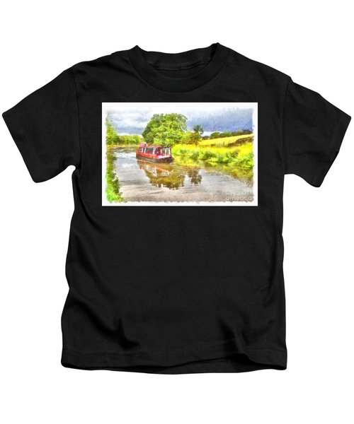 Canal Boat On The Leeds To Liverpool Canal Kids T-Shirt