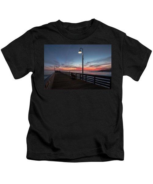 Cayucos Pier Sunset Kids T-Shirt