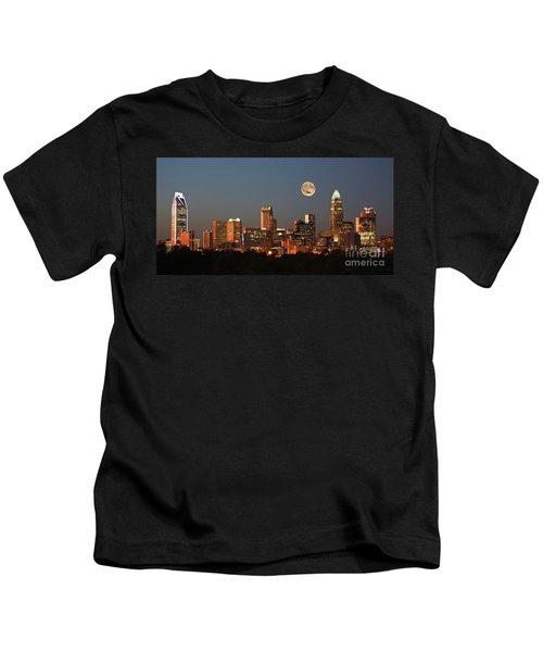 Charlotte City Skyline At Sunset Kids T-Shirt