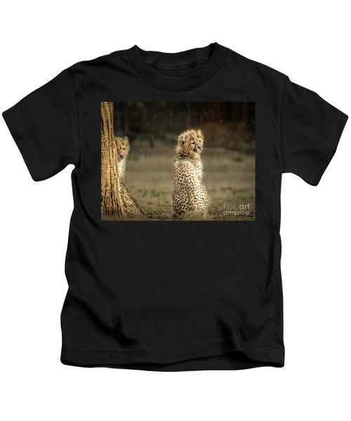 Cheetah Cubs And Rain 0168 Kids T-Shirt