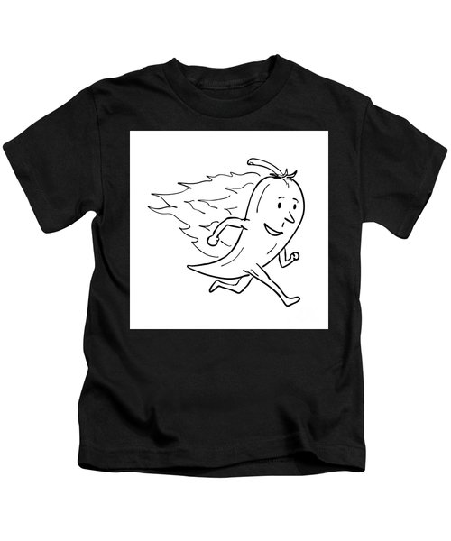 Chilli Pepper On Fire Running Drawing Black And White  Kids T-Shirt