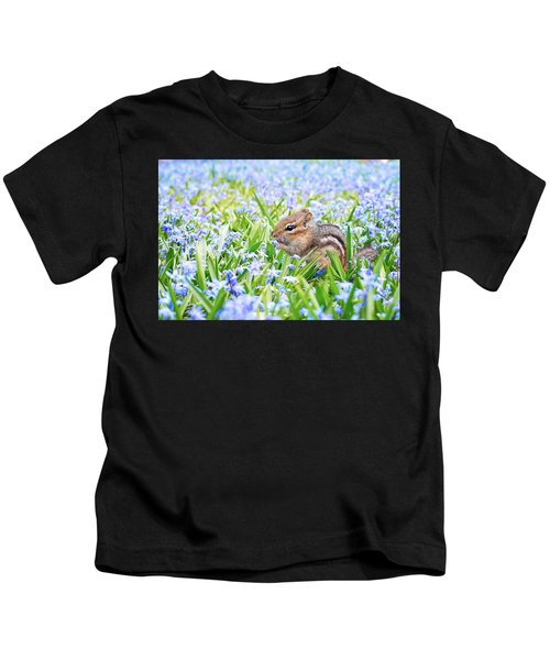 Chipmunk On Flowers Kids T-Shirt