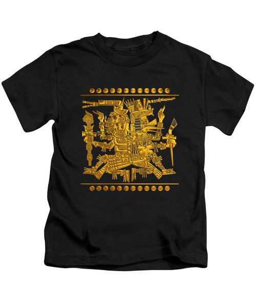 Codex Borgia - Aztec Gods - Gold Mictlantecuhtli With Quetzalcoatl On Black And White Leather Kids T-Shirt