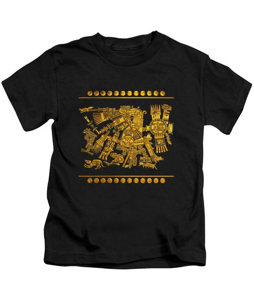 Codex Borgia - Aztec Gods - Gold Tezcatlipoca - Smoking Mirror On Black And White Leather Kids T-Shirt