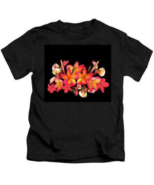 Coloured Frangipani Black Bkgd Kids T-Shirt