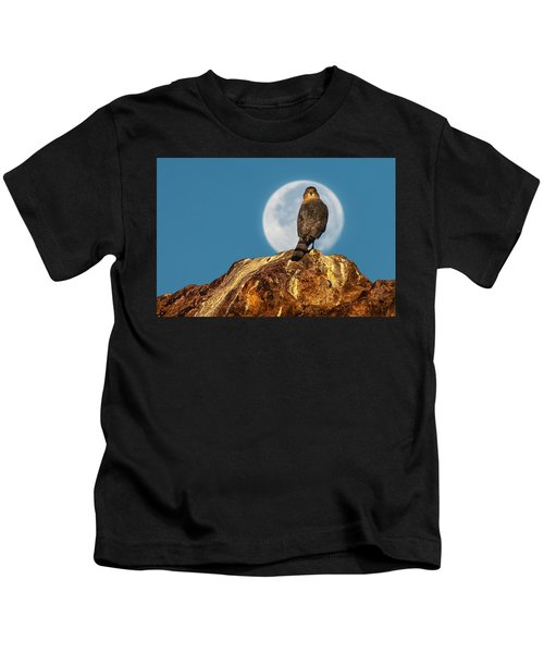 Coopers Hawk With Moon Kids T-Shirt