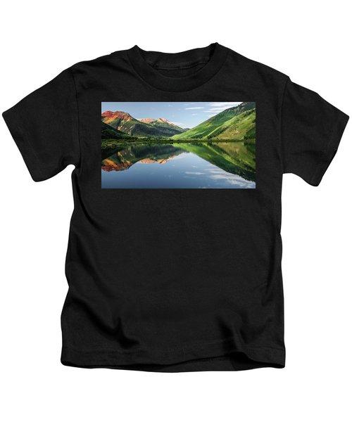 Crystal Lake Red Mountain Reflection Kids T-Shirt