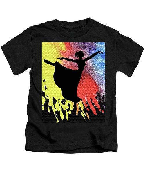Dancing With Watercolor Ballerina Silhouette IIi Kids T-Shirt