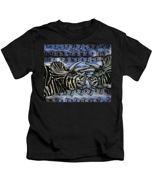 Dinosaur Triceratops Head On Battle Kids T-Shirt