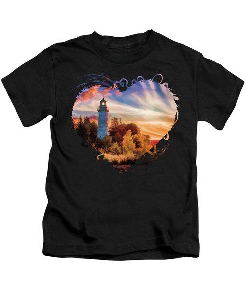 Door County Cana Island Lighthouse Sunrise Panorama Kids T-Shirt