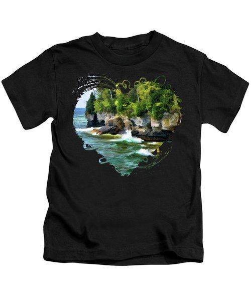 Door County Cave Point Cliffs Kids T-Shirt