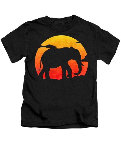 Elephant Sunset Kids T-Shirt