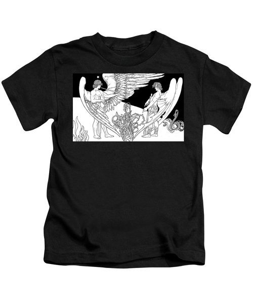 Ephraim Moses Lilien Illustration Of The Angels, Gabriel On Left And Satan On The Right Kids T-Shirt