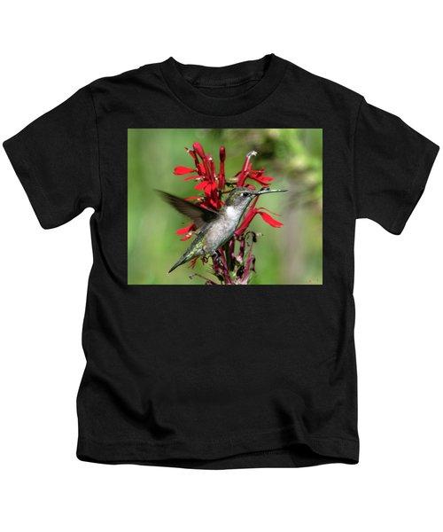 Female Ruby-throated Hummingbird Dsb0325 Kids T-Shirt