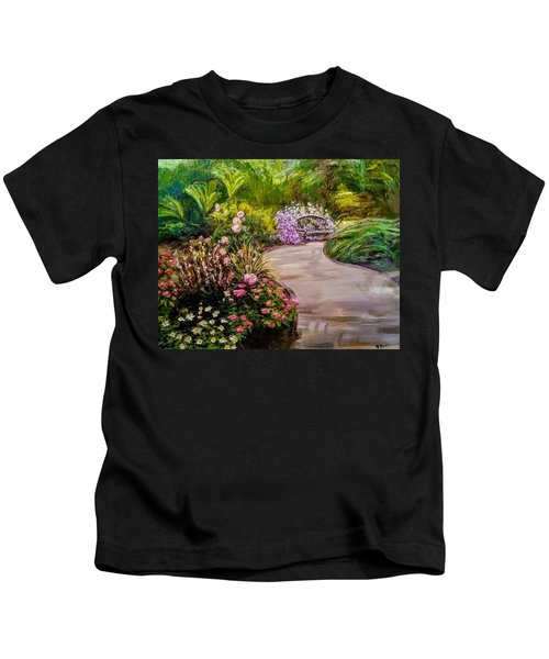 Path To The Garden Bench At Evergreen Arboretum Kids T-Shirt