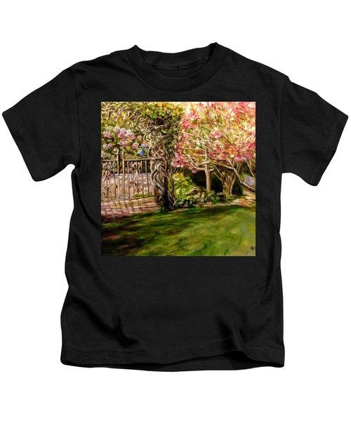 Garden Gate At Evergreen Arboretum Kids T-Shirt