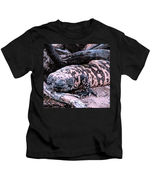 Kids T-Shirt featuring the photograph Gila Monster Under Creosote Bush by Judy Kennedy