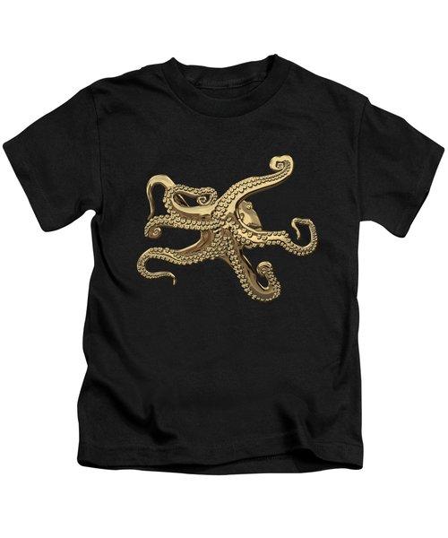 Gold Octopus On Black Canvas Kids T-Shirt
