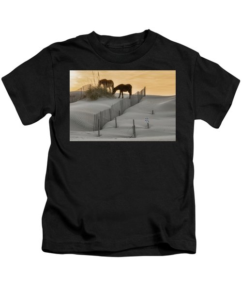Golden Horses Kids T-Shirt
