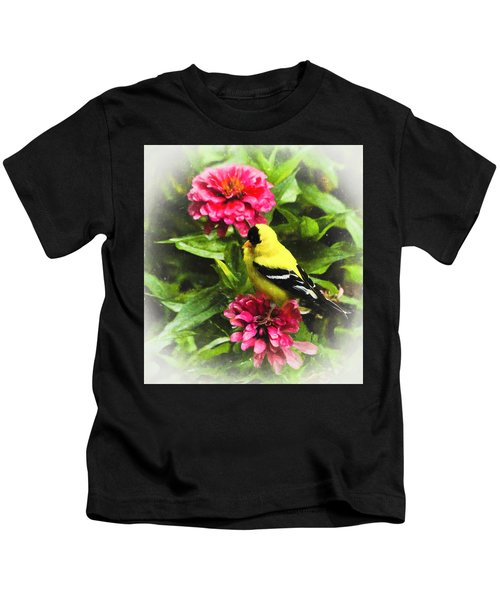 Goldfinches Love Zinnias Kids T-Shirt