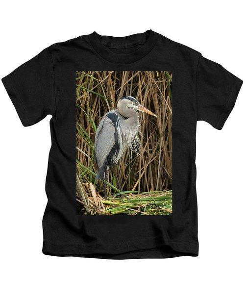 Great Blue Heron On Padre Island Kids T-Shirt