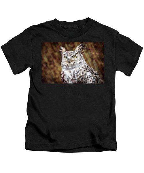 Great Horned Owl Portrait Kids T-Shirt