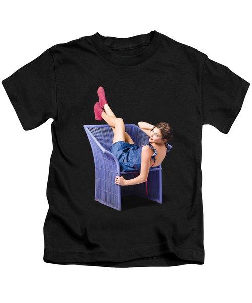 Happy Woman In Denim Dress Kicking Back On Chair Kids T-Shirt
