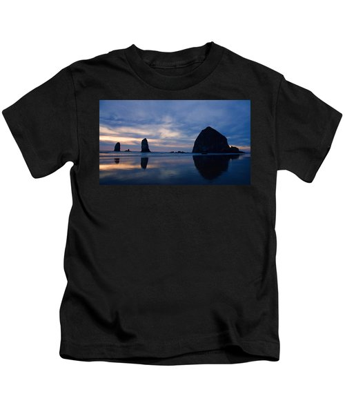 Haystack Rock At Dusk Kids T-Shirt