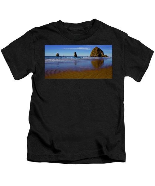 Haystack Rock Panoramic Kids T-Shirt