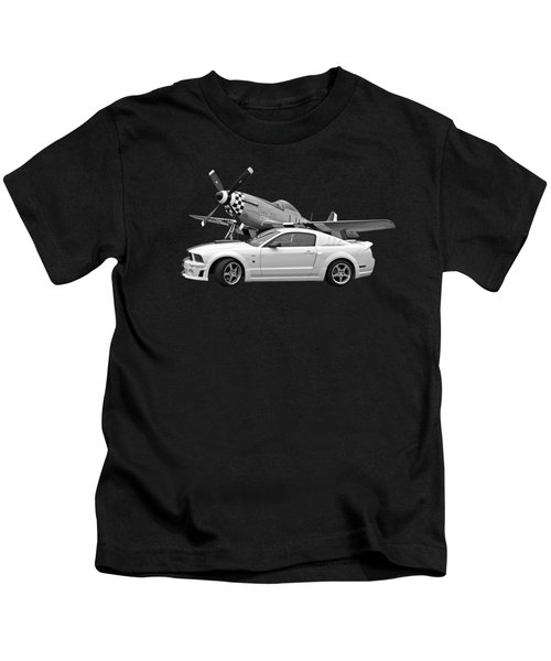 High Flyers - Mustang And P51 In Black And White Kids T-Shirt