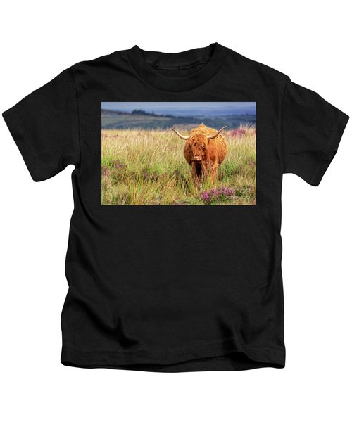 Highland Cow In The Moor Kids T-Shirt