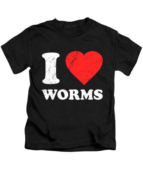I Love Worms Kids T-Shirt