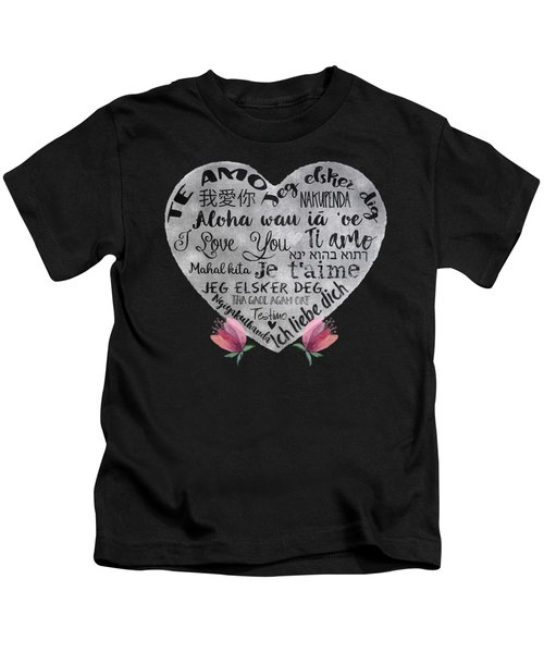 I Love You Chalkboard Heart, Flowers Kids T-Shirt