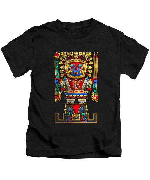Incan Gods - The Great Creator Viracocha On Black Canvas Kids T-Shirt