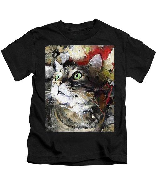 Jack The Green Eyed Manx Cat Kids T-Shirt