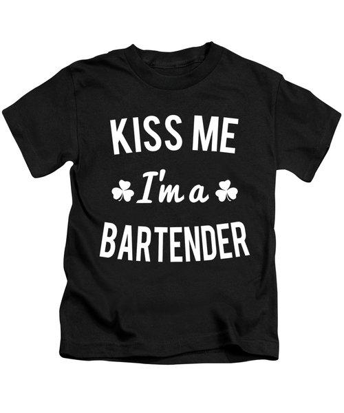 Kiss Me Im A Bartender Kids T-Shirt