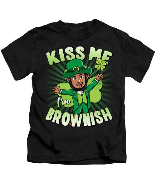 Kiss Me Im Brownish Black Leprechaun St Patricks Day Kids T-Shirt