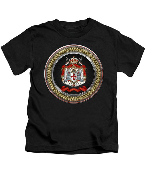 Knights Templar - Coat Of Arms Special Edition Over Black Leather Kids T-Shirt